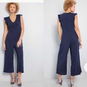 ModCloth Navy Ruffle Wide Leg Cropped Jumpsuit S